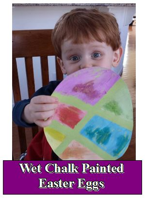 wet chalk painted easter eggs