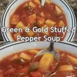 green & gold stuffed pepper soup