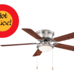 Hugger 52 in. LED Indoor Brushed Nickel Ceiling Fan with Light Kit $39.97