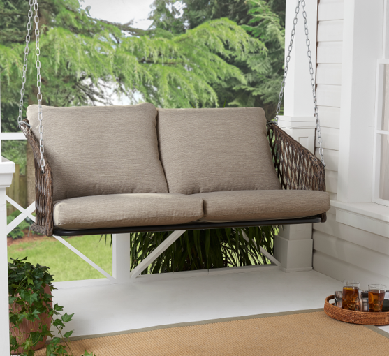 Mainstays Battle Creek Outdoor Wicker Porch Swing With Cushions