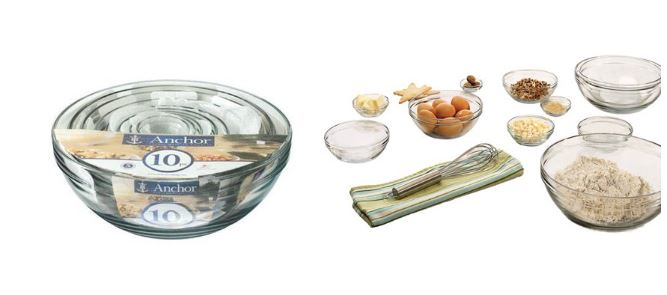 10 Piece Anchor Hocking Tempered Glass Assorted Dishwasher