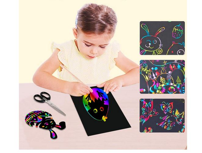 50 Pcs Rainbow Magic Scratch Off Paper Set Arts Crafts Supplies Kits Pads Sheets Boards DIY Fun Toy with 5 Wooden Stylus for Party Game Christmas Birthday Gift Eclawen Scratch Art Paper