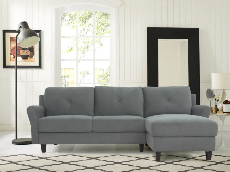 Seat Microfiber Rolled Arm Sectional Sofa