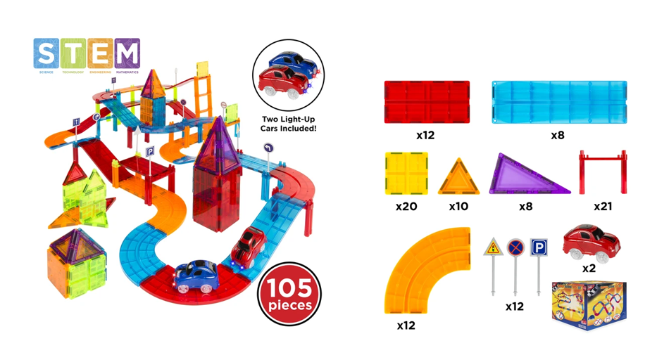 Great Price 105 Piece Kids Magnetic Tile Car Race Track Set With 2 Cars