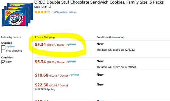 Amazon Warehouse Offer 3 Family Size Packs Oreo Double Stuff Only 5 34