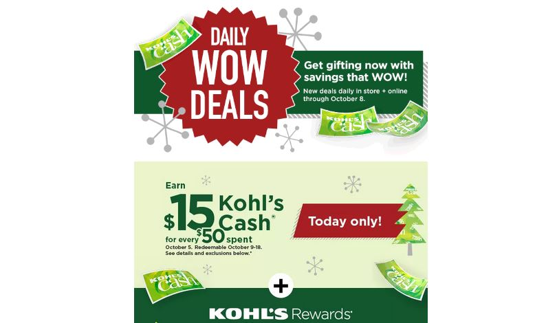 Wow Deals Today Only Earn 15 Kohl S Cash For Every 50 Spent